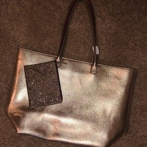 Rose gold tote w/ glitter pouch